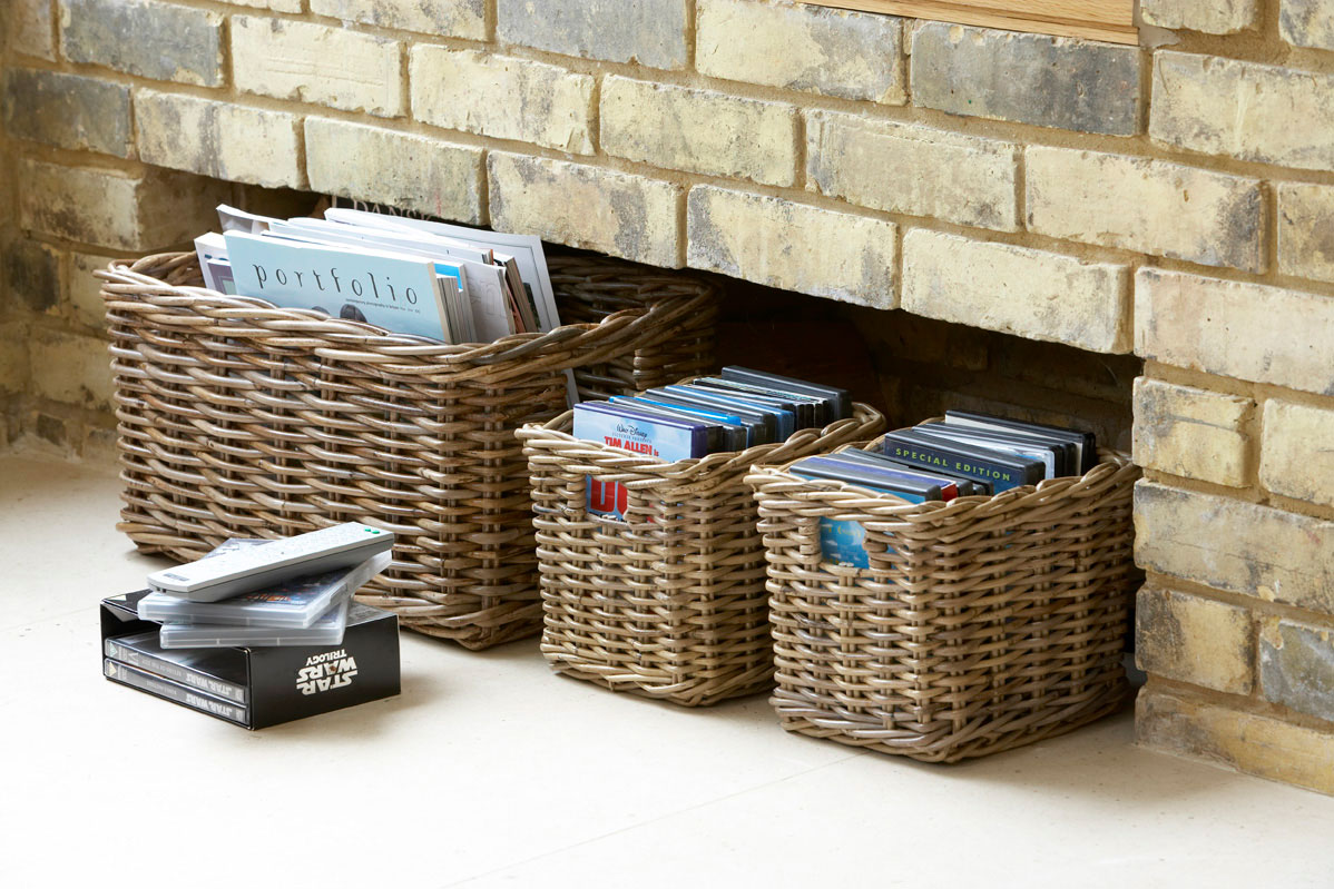 & Rye Grey Basket with Cut-out Handles | - The Holding Company