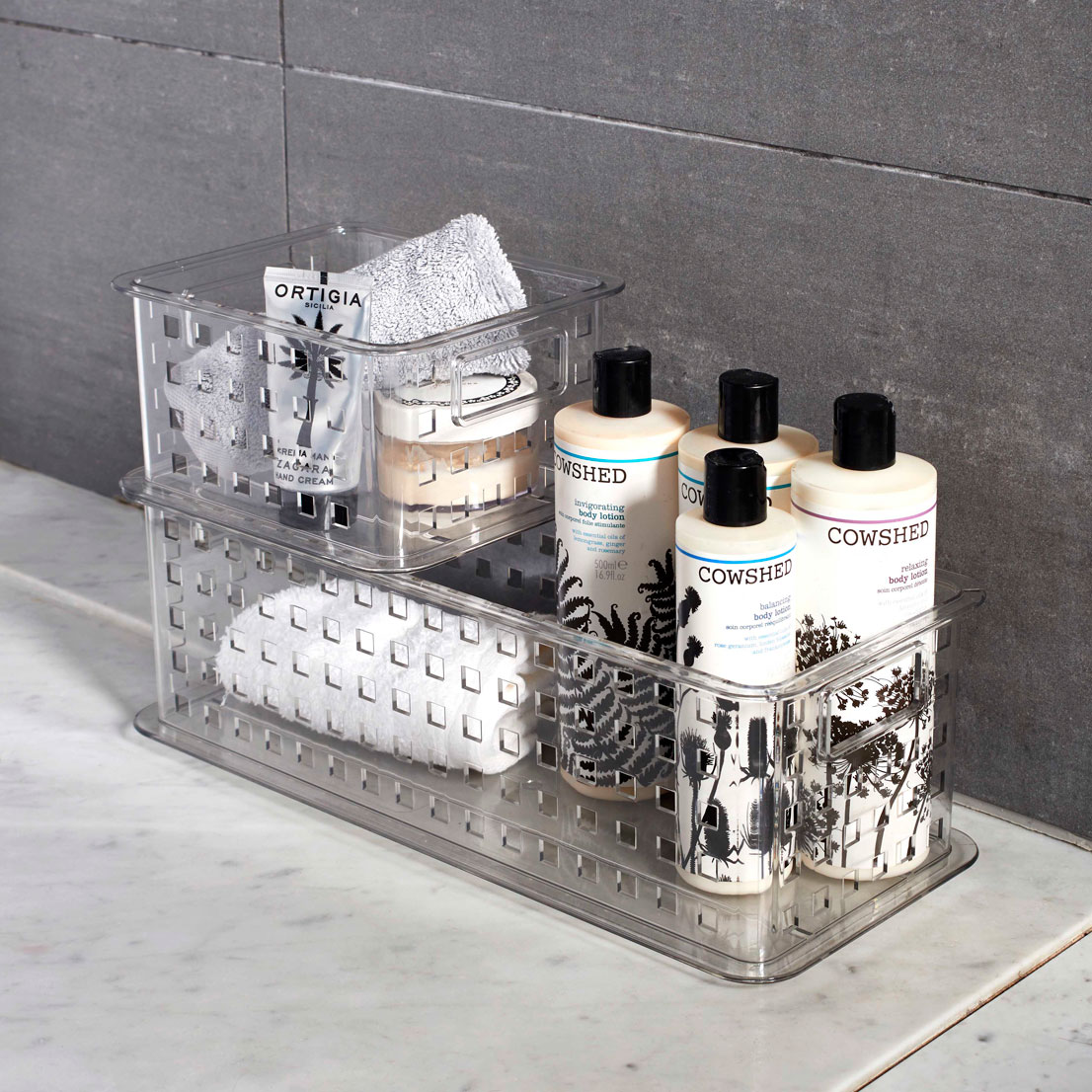 interdesign stack slide clear plastic basket - Bathroom Baskets