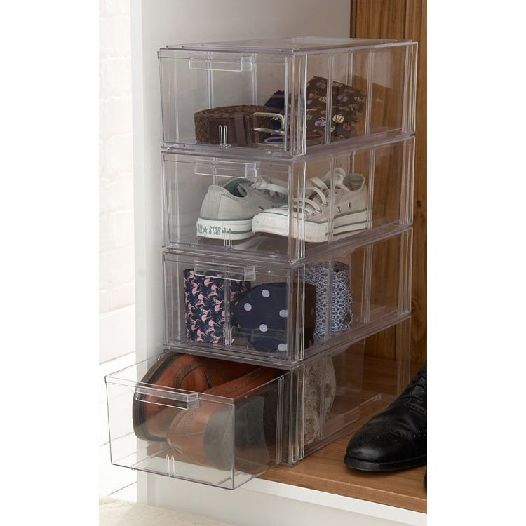Large Clear Stackable Shoe Storage Drawers