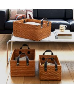 Rattan Basket With Leather Look Handles| @ The Holding Company