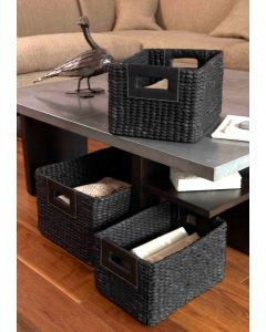 Water Hyacinth Rectangular Basket Faux Leather Handles | @ The Holding Company