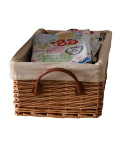 Lined Willow Basket With Faux Leather Handles Small