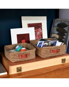 Mini Square Jute Basket With Leather Handles | @ The Holding Company