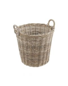 Chunky Rattan Round Basket Grey With Handles   TOBS