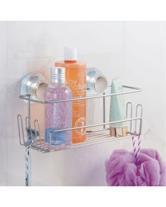 InterDesign | Wire Suction Bathroom Basket with Hooks