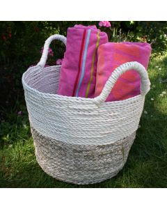 Two Tone Woven Basket Natural and White Colours