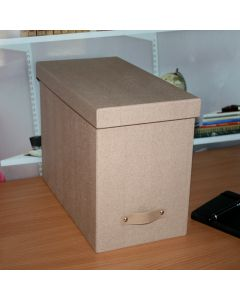 File Box with 8 Hanging Files Brown Oak Design