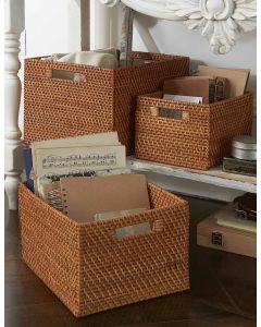 Rattan Basket with Cut-out Handles| @ The Holding Company