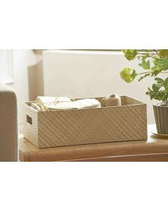 Pandanus Open Rectangle Basket with Cut Out Handles
