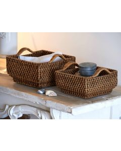Shallow Wicker Square Basket | @ The Holding Company