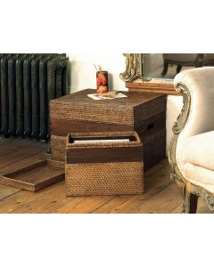 Varnished Rattan Storage Box with Lid