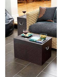 Woven Home Storage Box With Metal Handles Brown | @ The Holding Company