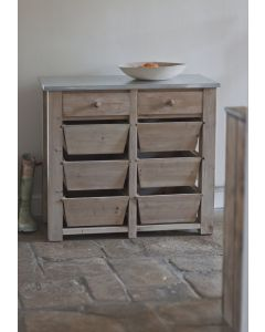 8 Drawer Storage Unit with Zinc Top | Garden Trading Company