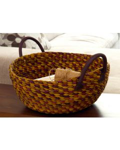 Water Hyacinth Wok Basket Vinyl Handles Multicolour| @ The Holding Company