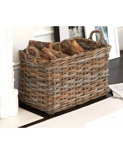 Chunky Rattan Basket With Loop Handles