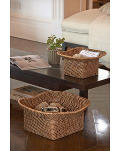 Set of Two Topi Rattan Baskets