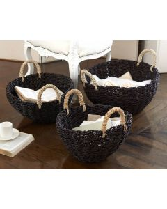 Two Hawkshead Seagrass Round Baskets With Handles