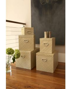 Woven Home Storage Box With Metal Handles Natural @ The Holding Company