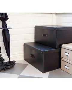 Black Storage Box With Leather Handle | Bigso