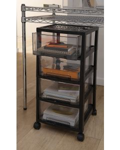 4 Drawer Tower Storage Unit | Black