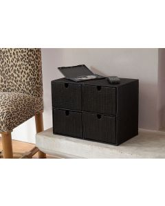 Mendong Woven DVD Storage Box, Black