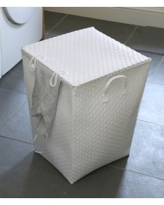 White Laundry Basket with Lid Square and Strapping