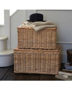 Set of Two Hambleden Rattan Trunks with Lid