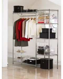 Chrome Wardrobe with Shelves