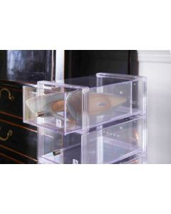 Clear Stackable Shoe Storage Drawer with Chrome Knob | Large