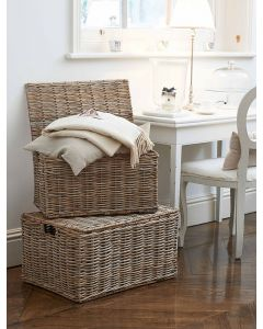 Large Grey Rattan Trunk with Hinged Lid| @ The Holding Company