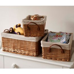 Willow Lined Shallow Basket with Faux Leather Handle | The Holding Company