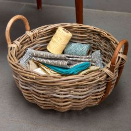 Chunky Round Rattan Basket With Cane Loop Handles | @ The Holding Company