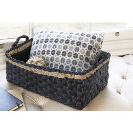 Mendong Grass Rectangle Basket Black With Natural Stripe | @ The Holding Company