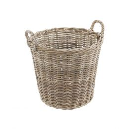 Chunky Rattan Round Basket Grey With Handles | TOBS