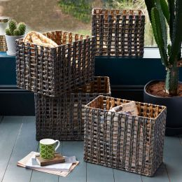 Water Hyacinth Rectangular Basket Grey | @ The Holding Company