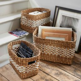 Oval Water Hyacinth Basket with Cut out Handle | @ The Holding Company