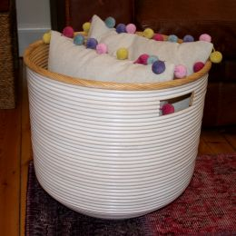 Round Rattan Basket with Cut Out Handle