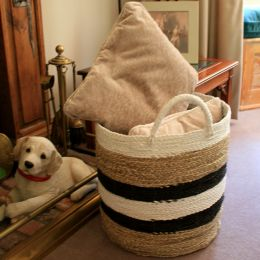 Striped Woven Basket with Handles