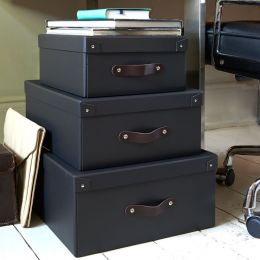 Storage Box With Leather Handle | Bigso