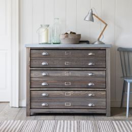 Architect's Cabinet With Double Drawers And Zinc Top | Garden Trading Company