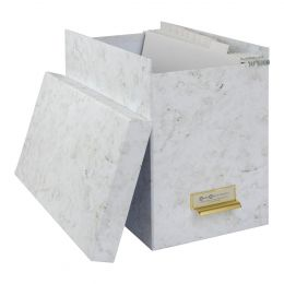 Filebox with 8 Hanging Files - Marble Effect