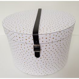 White/Gold Hat Box with Leather Straps