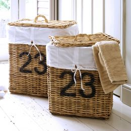 Linen Laundry Basket Rattan Rectangular