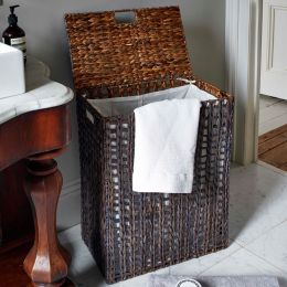 Hereford Lined Water Hyacinth Laundry Basket