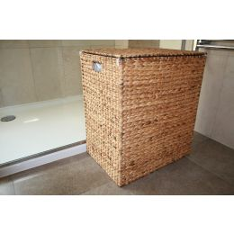 Natural Water Hyacinth Lined Laundry Basket