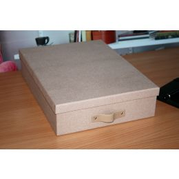 Document Box with Beige and Brown Oak Design