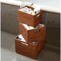 Rattan Baskets with Cut Out Handles - Set of 3