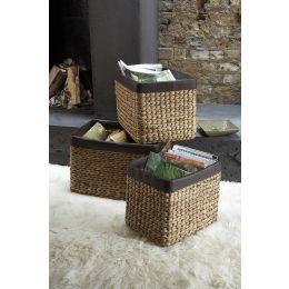 Water Hyacinth Vinyl Trim Basket | @ The Holding Company