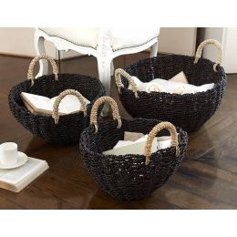 Seagrass Round Basket Black With Natural Handles | @ The Holding Company