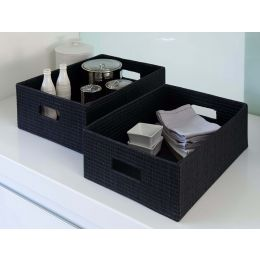 Mendong Grass Open Storage Box Black| @ The Holding Company
